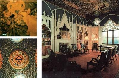Rekonstrukcja malarstwa biblioteki w Strawberry Hill, Kingston - upon - Thames, Anglia.