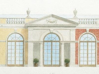 Projekt rezydencji wiejskiej w formie oranżerii w Polsce. Projekt przedstawia alternatywne wykończenia fasady. Ilustracja techniką akwarelową.