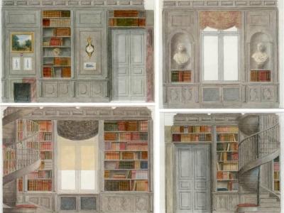 Projekt biblioteki w wiejskim stylu. Ilustracja techniką akwarelową.