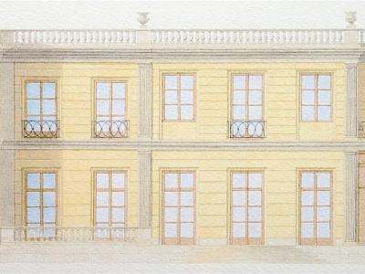 Projekt rezydencji miejskiej w Warszawie. Ilustracja techniką akwarelową.