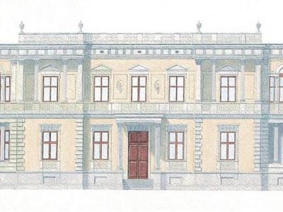 Projekt kordegardy Ambasady US w Warszawie w stylu 19-sto wiecznej willi Leandra Marconiego, rozebranej w 1962 roku.