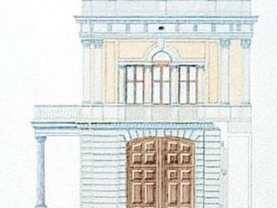 Projekt kordegardy Ambasady US w Warszawie w stylu 19-sto wiecznej willi Leandra Marconiego, rozebranej w 1962 roku. Widok boczny.