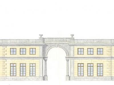 Projekt kompleksu rezydencji w Warszawie. Ilustracja techniką akwarelową.