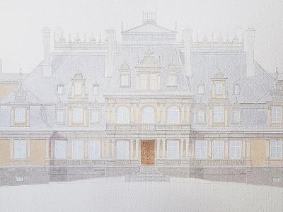 Zrealizowany projekt kolorystyki fasady pałacu w Guzowie. Mazowieckie, Polska.