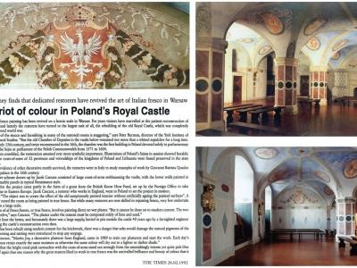 """Projekt i realizacja dekoracji w technice al fresco buono, Dawnej Izby Poselskiej w Zamku Królewskim w Warszawie- Fragment """"The Times"""" z 26.02.1992r."""