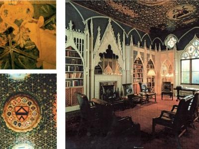 Rekonstrukcja historycznego wnętrza biblioteki w Strawberry Hill, Kingston - upon - Thames, Anglia.