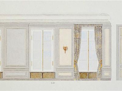 Pojekt Sali Senatu. Pałac Raczyńskich (daw. Czapskich) - obecnie Akademia Sztuk Pięknych. Ilustracja techniką akwarelową.