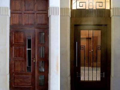 Realizacja projektu drzwi wewnętrznych kamienicy z lat 30-tych. Z lewej strony drzwi sprzed realizacji.