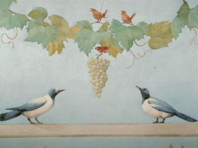 Przykłady malarstwa w stylu Pompejskim. Technika al fresco buono. Prywatna rezydencja na południu Polski.