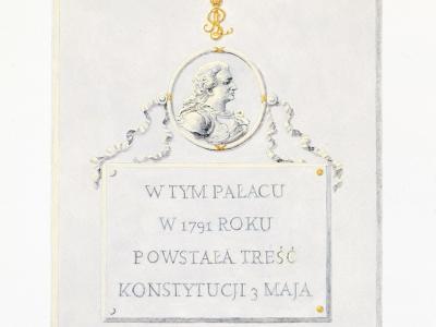 Projekt tablicy upamiętniającej miejsce opracowania Konstytucji 3 Maja.