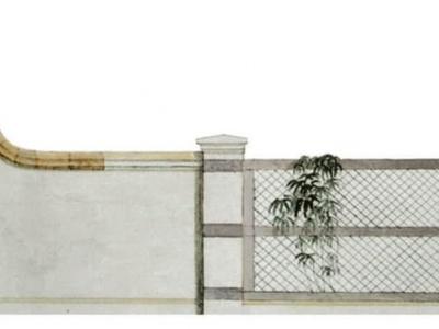 Projekt muru i ogrodzenia rezydencji wiejskiej.