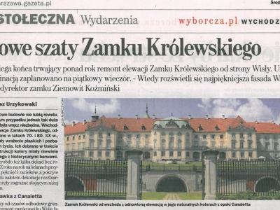 """Gazeta Wyborcza - 22 maja 2013 """"Nowe szaty Zamku Królewskiego"""""""