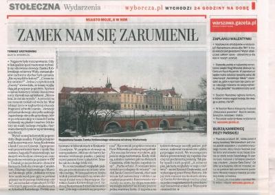 """Gazeta Wyborcza - 13 kwietnia 2013 """"Zamek nam się zarumienił"""""""